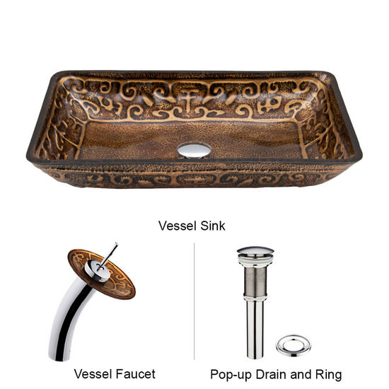 "Vigo VIG-VGT020CHRCT, Rectangular Golden Greek Glass Vessel Sink and Waterfall Faucet Set in Chrome, 22-1/4"" W x 14-1/2"" D x 4-1/2"" H"