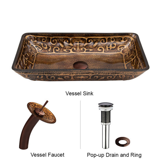 "Vigo VIG-VGT020RBRCT, Rectangular Golden Greek Glass Vessel Sink and Waterfall Faucet Set in Oil Rubbed Bronze, 22-1/4"" W x 14-1/2"" D x 4-1/2"" H"