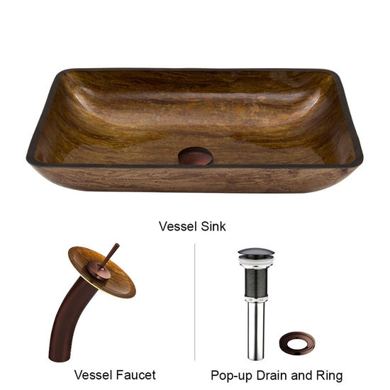 "Vigo VIG-VGT021RBRCT, Rectangular Amber Sunset Glass Vessel Sink and Waterfall Faucet Set in Oil Rubbed Bronze, 22-1/4"" W x 14-1/2"" D x 4-1/2"" H"