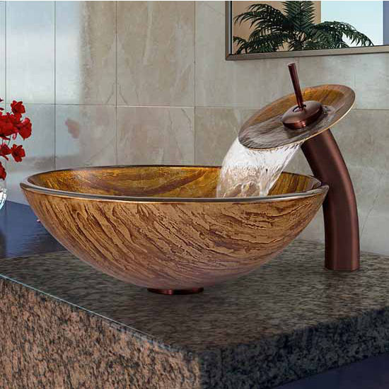 "Vigo Amber Sunset Glass Vessel Sink And Waterfall Faucet Set In Oil Rubbed Bronze - 16-1/2"" Diameter x 6""H"