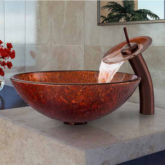 "Vigo Mahogany Moon Glass Vessel Sink And Waterfall Faucet Set In Oil Rubbed Bronze - 16-1/2"" Diameter x 6""H"