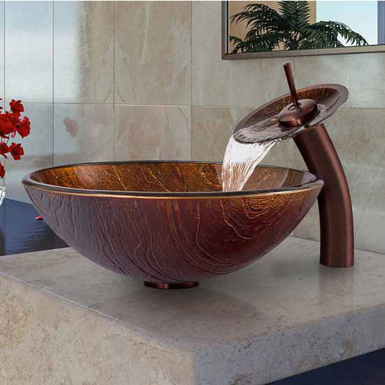 "Vigo Kenyan Twilight Glass Vessel Sink And Waterfall Faucet Set In Oil Rubbed Bronze - 16-1/2"" Diameter x 6""H"