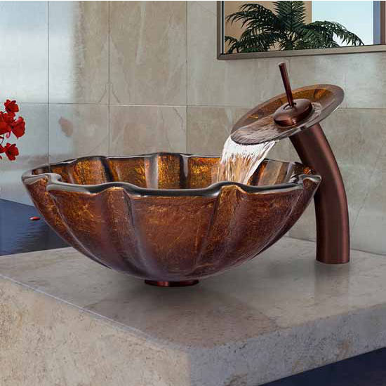 "Vigo Walnut Shell Glass Vessel Sink And Waterfall Faucet Set In Oil Rubbed Bronze - 16-1/2"" Diameter x 6""H"