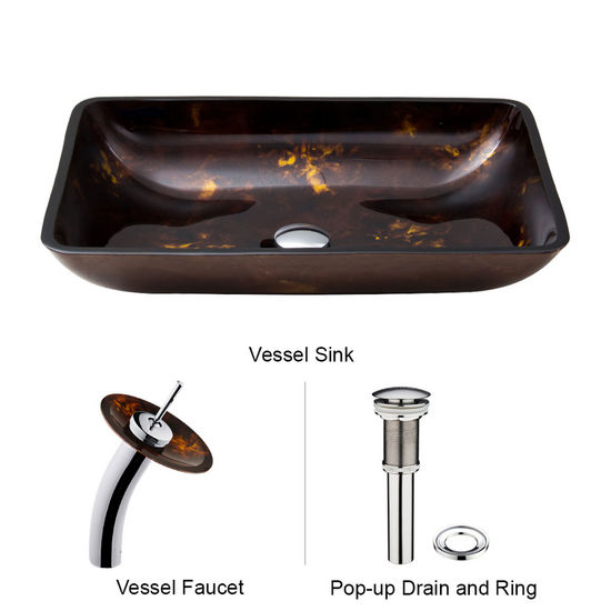 "Vigo VIG-VGT033CHRCT, Rectangular Brown and Gold Fusion Glass Vessel Sink and Waterfall Faucet Set in Chrome, 22-1/4"" W x 14-1/2"" D x 4-1/2"" H"