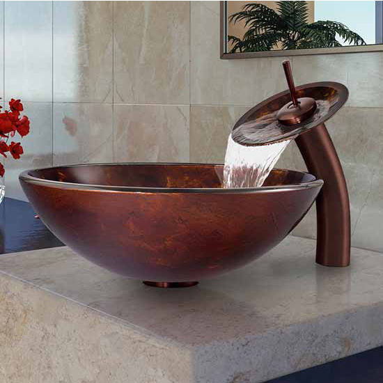 "Vigo Brown And Gold Fusion Glass Vessel Sink And Waterfall Faucet Set In Oil Rubbed Bronze - 16-1/2"" Diameter x 6""H"