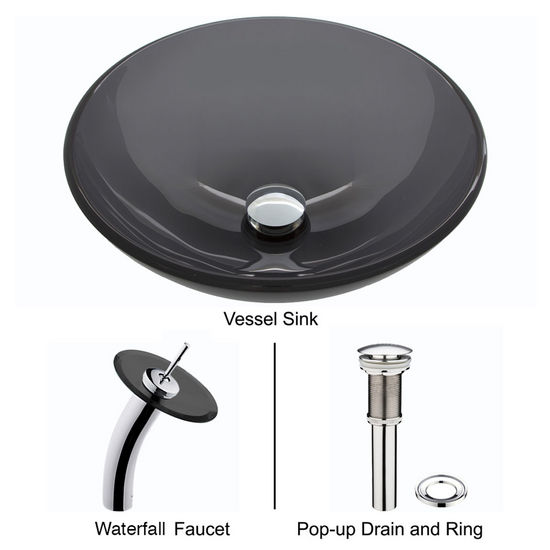 "Vigo VIG-VGT035CHRND, Sheer Black Glass Vessel Sink and Waterfall Faucet Set in Chrome, 16-1/2"" Diameter x 6"" H"