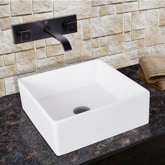 Vigo Bavaro Composite Vessel Sink and Titus Antique Rubbed Bronze Finish Dual Lever Wall Mount Faucet Set w/ Pop up Drain, 14-1/2'' W x 14-1/2'' D x 5'' H