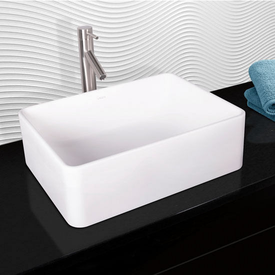 Vigo Caladesi Composite Vessel Sink and Dior Bathroom Vessel Faucet Set in Brushed Nickel w/ Pop up Drain, 19-5/8'' W x 14-1/2'' D x 6-1/8'' H
