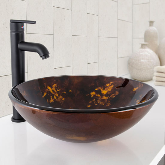 "Vigo Brown and Gold Fusion Glass Vessel Bathroom Sink Set with Seville Vessel Faucet in Matte Black, 16-1/2"" Diameter x 6"" H"