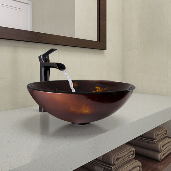 """Vigo Brown and Gold Fusion Glass Vessel Bathroom Sink and Niko Faucet Set in Antique Rubbed Bronze, 16-1/2"""" Diameter x 6"""" H"""