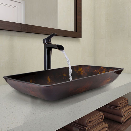 """Vigo Rectangular Brown and Gold Fusion Glass Vessel Bathroom Sink and Niko Faucet Set in Antique Rubbed Bronze, 22-1/4"""" W x 14-1/2"""" D x 4-1/2"""" H"""
