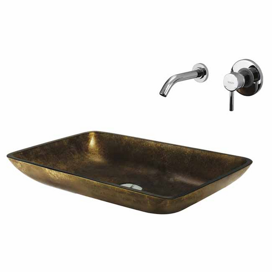 Vigo Copper Glass Vessel Sink and Faucet Set, Wall Mounted