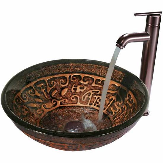 Vigo Copper Mosaic Glass Vessel Sink and Faucet Set