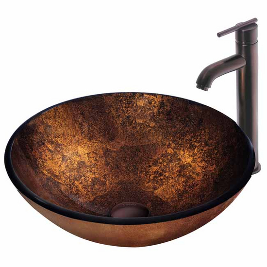 Vigo Russet Glass Vessel Sink and Faucet Set