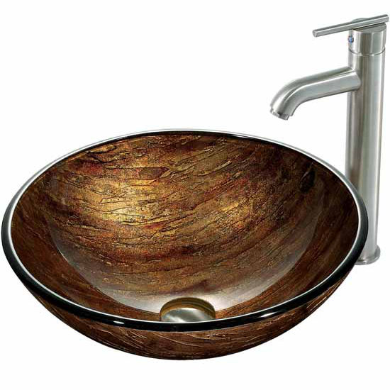 Vigo Amber Sunset Glass Vessel Sink And Faucet Set