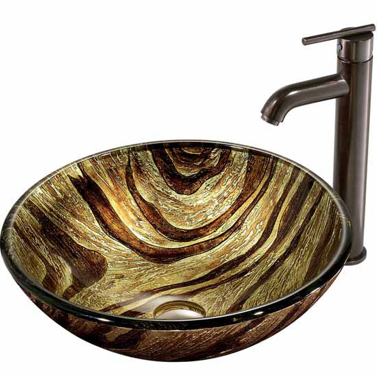 "Vigo Zebra Glass Vessel Sink And Faucet Set In Oil Rubbed Bronze - 16-1/2"" Diameter x 6""H"