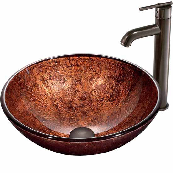 "Vigo Mahogany Moon Glass Vessel Sink And Faucet Set In Oil Rubbed Bronze - 16-1/2"" Diameter x 6""H"