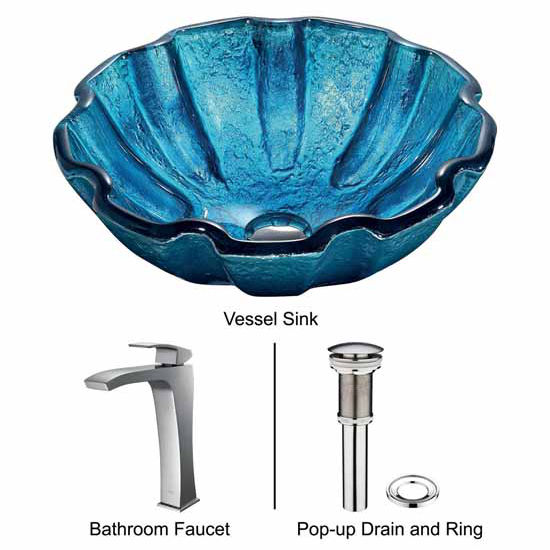 "Vigo Mediterranean Seashell Glass Vessel Sink And Faucet Set In Chrome - 16-1/2"" Diameter x 6""H"