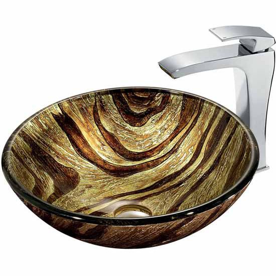 "Vigo Zebra Glass Vessel Sink And Faucet Set In Chrome - 16-1/2"" Diameter x 6""H"