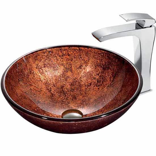 "Vigo Mahogany Moon Vessel Sink In Copper With Chrome Faucet - 16-1/2"" Diameter x 6""H"