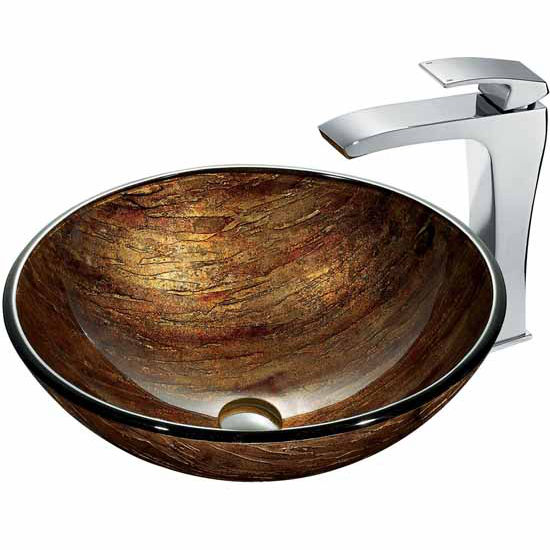 "Vigo Amber Sunset Glass Vessel Sink And Faucet Set In Chrome - 16-1/2"" Diameter x 6""H"