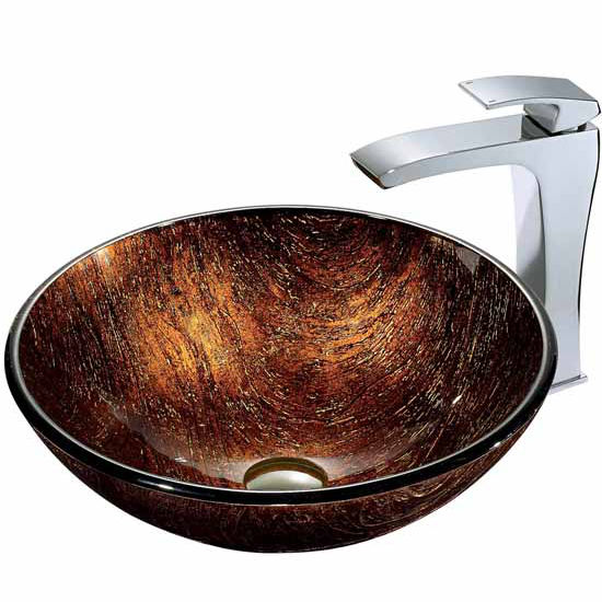 "Vigo Kenyan Twilight Glass Vessel Sink And Faucet Set In Chrome - 16-1/2"" Diameter x 6""H"