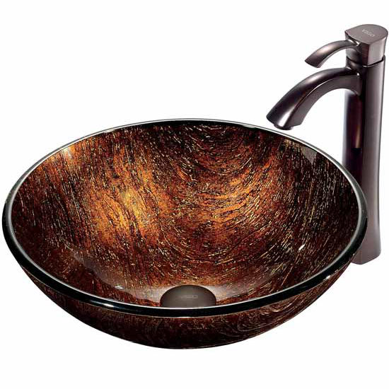 "Vigo Kenyan Twilight Glass Vessel Sink And Faucet Set In Oil Rubbed Bronze - 16-1/2"" Diameter x 6""H"