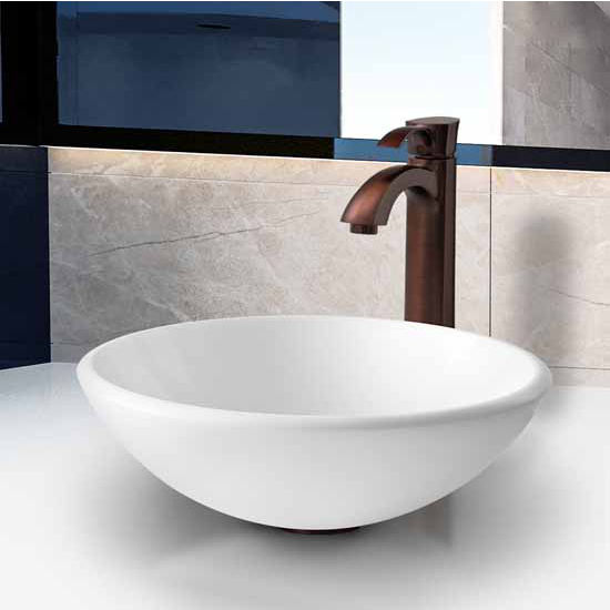 "Vigo White Phoenix Stone Glass Vessel Sink With Oil Rubbed Bronze Faucet - 15-1/2"" Diameter x 5-1/2""H"