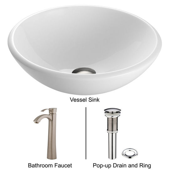 "Vigo VIG-VGT201, White Phoenix Stone Glass Vessel Sink with Brushed Nickel Faucet, 15-1/2"" Diameter x 5-1/2"" H"