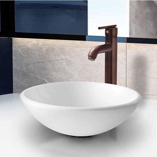 Vigos White Phoenix Stone Glass Vessel Sink With Oil Rubbed Bronze