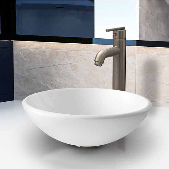"Vigo White Phoenix Stone Glass Vessel Sink With Brushed Nickel Faucet - 15-1/2"" Diameter x 5-1/2""H"