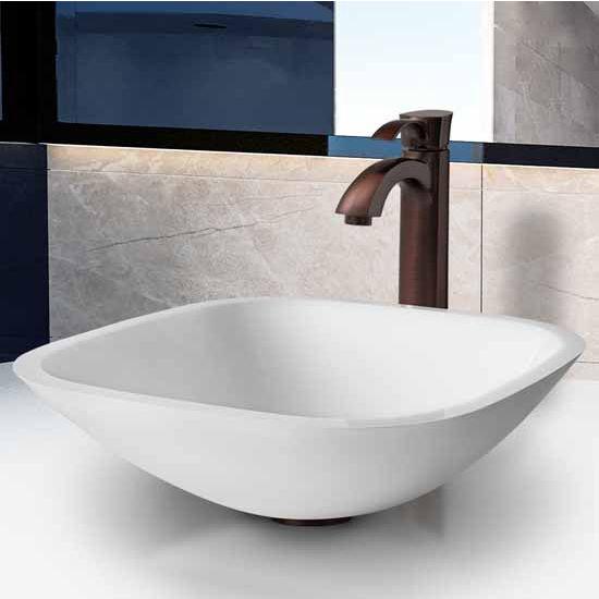 "Vigo Square Shaped White Phoenix Stone Glass Vessel Sink With Oil Rubbed Bronze Faucet - 16-1/2""L x 16-1/2""W x 5-1/2""H"