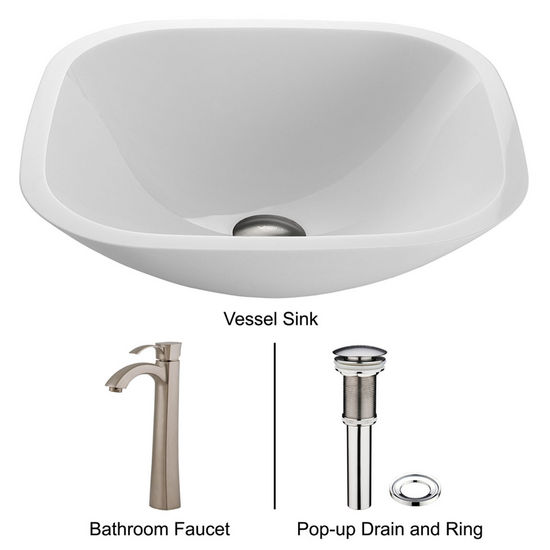 "Vigo VIG-VGT205, Square Shaped White Phoenix Stone Glass Vessel Sink with Brushed Nickel Faucet, 16-1/2"" W x 16-1/2"" D x 5-1/2"" H"