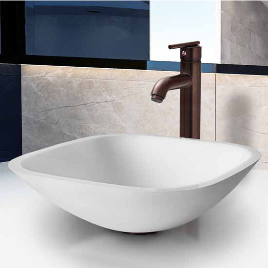 Vigo Square Shaped White Phoenix Stone Glass Vessel Sink