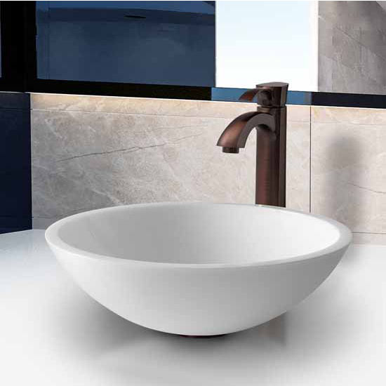"Vigo Flat Edged White Phoenix Stone Glass Vessel Sink With Oil Rubbed Bronze Faucet - 16-1/2"" Diameter x 5-1/2""H"