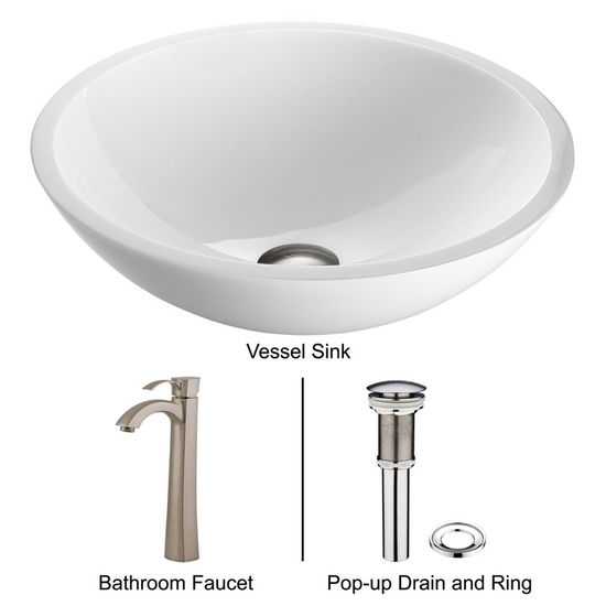 "Vigo VIG-VGT209, Flat Edged White Phoenix Stone Glass Vessel Sink with Brushed Nickel Faucet, 15-1/2"" Diameter x 5-1/2"" H"