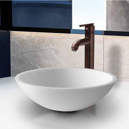 Vigo Flat Edged White Phoenix Stone Glass Vessel Sink