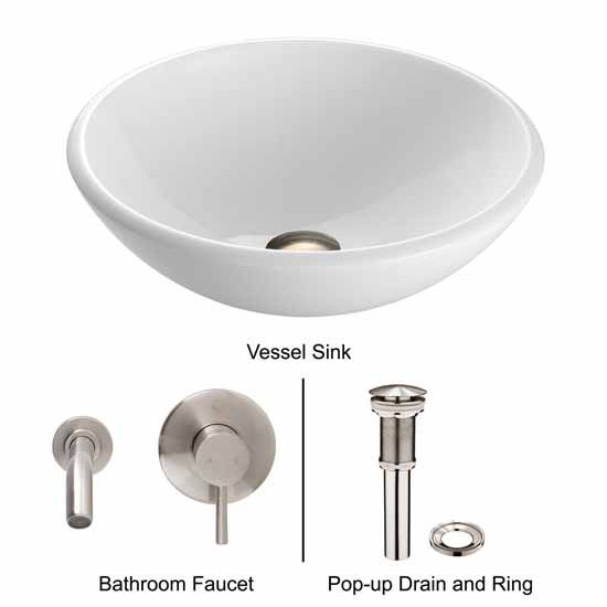 Vigo VIG-VGT213, White Phoenix Stone Glass Vessel Sink with Brushed Nickel Wall Mount Faucet