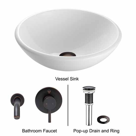 Vigo VIG-VGT214, White Phoenix Stone Glass Vessel Sink with Antique Rubbed Bronze Wall Mount Faucet