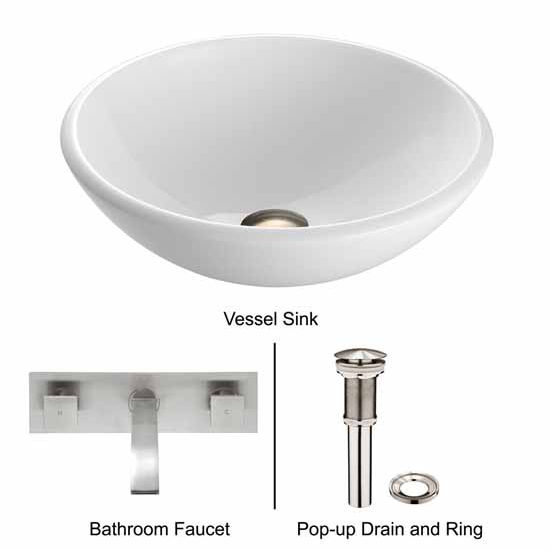 Vigo VIG-VGT216, White Phoenix Stone Glass Vessel Sink with Brushed Nickel Wall Mount Faucet