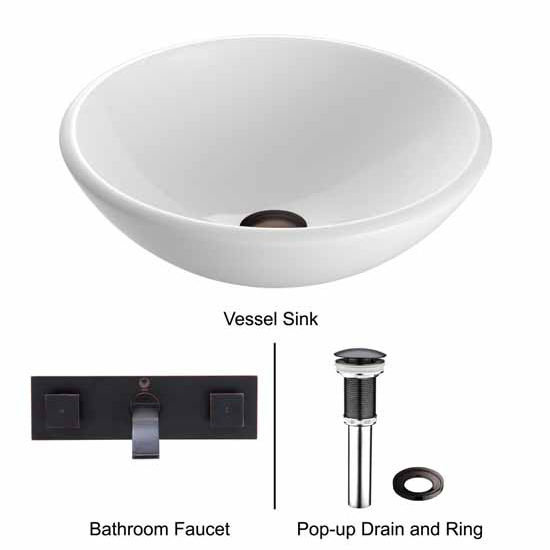 Vigo VIG-VGT217, White Phoenix Stone Glass Vessel Sink with Antique Rubbed Bronze Wall Mount Faucet