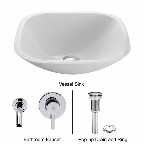 Vigo VIG-VGT218, Square Shaped White Phoenix Stone Glass Vessel Sink with Chrome Wall Mount Faucet