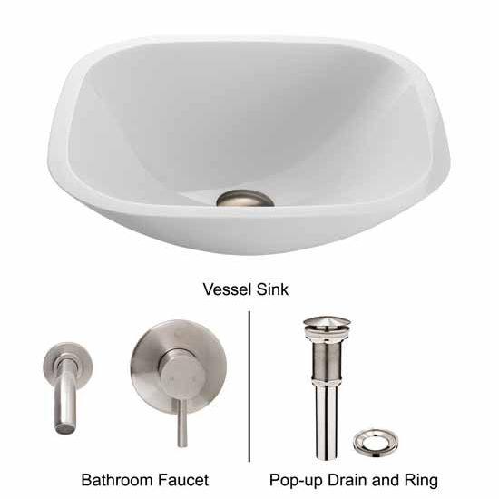 Vigo VIG-VGT219, Square Shaped White Phoenix Stone Glass Vessel Sink with Brushed Nickel Wall Mount Faucet