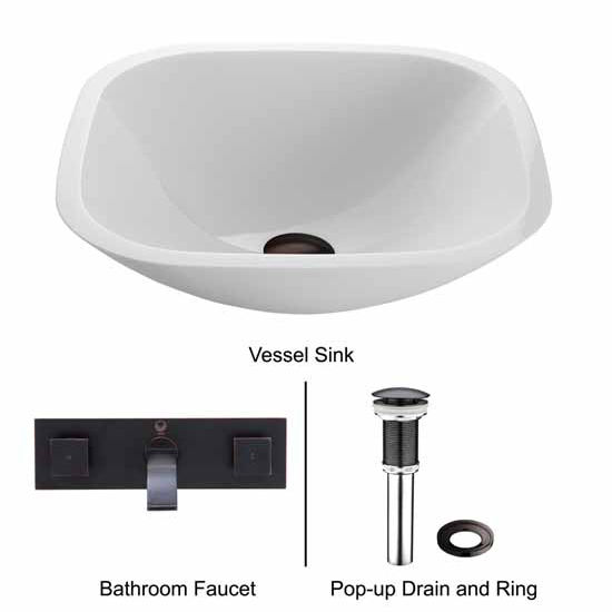 Vigo VIG-VGT223, Square Shaped White Phoenix Stone Glass Vessel Sink with Antique Rubbed Bronze Wall Mount Faucet