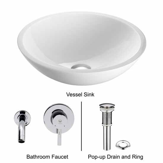 Vigo VIG-VGT224, Flat Edged White Phoenix Stone Glass Vessel Sink with Chrome Wall Mount Faucet