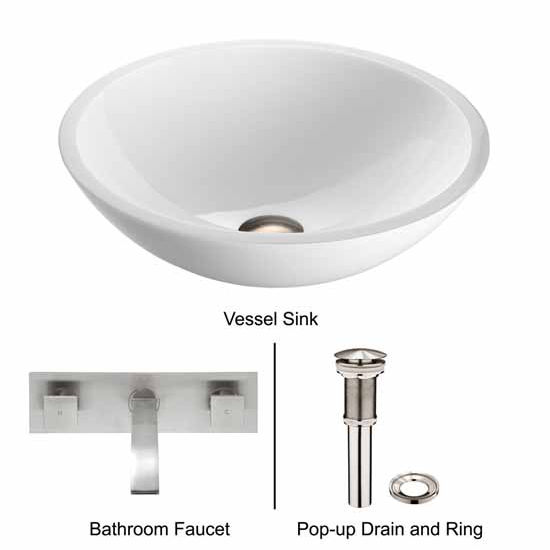 Vigo VIG-VGT228, Flat Edged White Phoenix Stone Glass Vessel Sink with Brushed Nickel Wall Mount Faucet