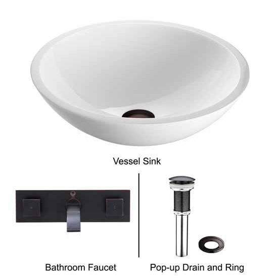 Vigo VIG-VGT229, Flat Edged White Phoenix Stone Glass Vessel Sink with Antique Rubbed Bronze Wall Mount Faucet