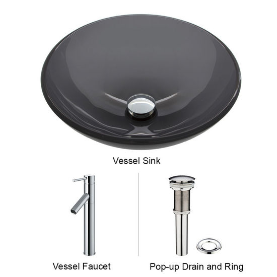 "Vigo VIG-VGT250, Sheer Black Glass Vessel Sink and Faucet Set in Chrome, 16-1/2"" Diameter x 6"" H"