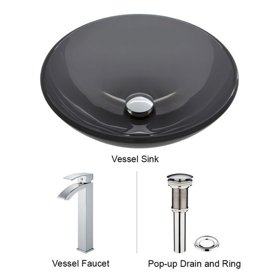 "Vigo VIG-VGT252, Sheer Black Glass Vessel Sink and Faucet Set in Chrome, 16-1/2"" Diameter x 6"" H"