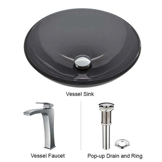 "Vigo VIG-VGT254, Sheer Black Glass Vessel Sink and Faucet Set in Chrome, 16-1/2"" Diameter x 6"" H"